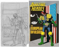 BOLLAND, BRIAN - Judge Dredd - Amazing Heroes #52 cover pencil, 1980s Comic Art